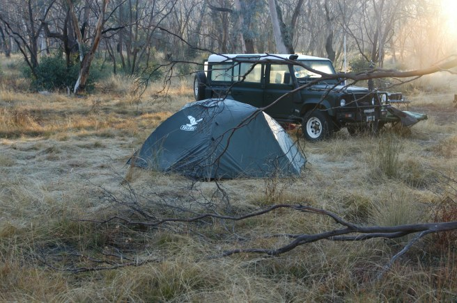 A COLDISH CAMPSITE ON THE DARGO HIGH PLAINS IN VICTORIA.