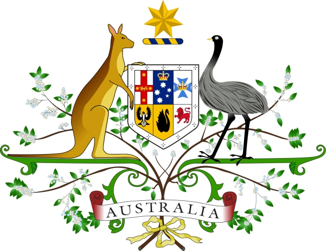 AUSTRALIA'S COAT OPF ARMS WITH THE KANGAROO, THE EMU AND THE WATTLE.