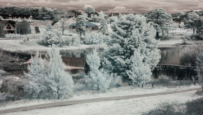 LOOKING OVER THE WOLLONDILLY RIVER NEAR HOME. INFRA RED IMAGE.